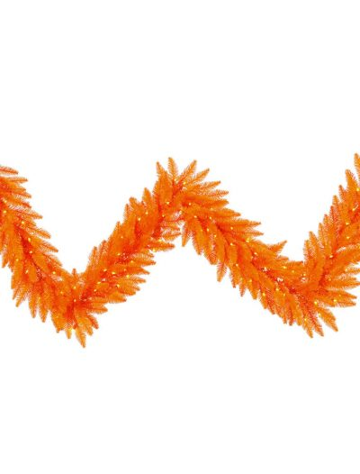 9 foot Orange Garland with Orange Lights For Christmas 2014
