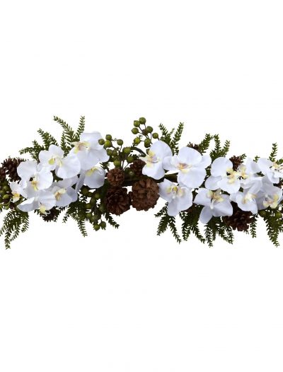 30 inch Artificial Phalaenopsis Orchid & Pine Swag For Christmas 2014
