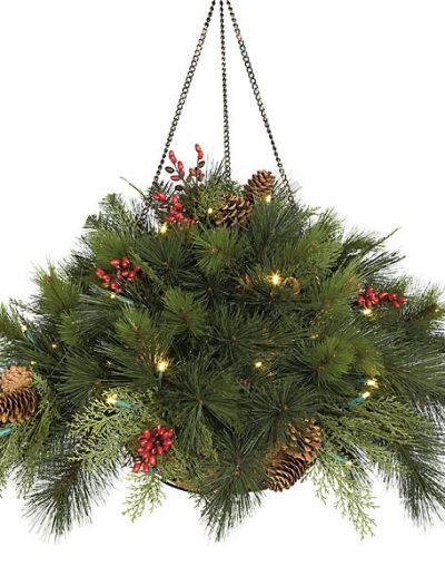 15 Inch Hanging PVC Pine Basket: LED Lights For Christmas 2014
