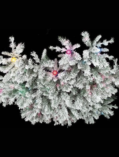 60 Inch Medium Flocked Chandelier Swag: Multi-colored Lights For Christmas 2014