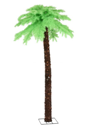 7 foot Chartreuse Palm Christmas Tree: Clear Mini Lights For Christmas 2014