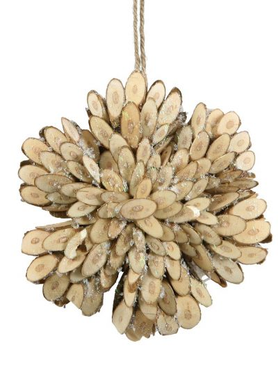 4.75 inch Birch Bark Snowflake Christmas Ornament For Christmas 2014