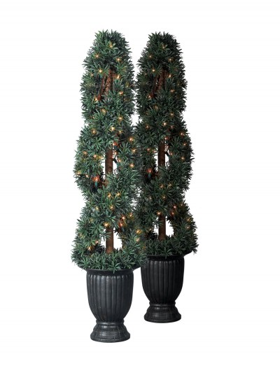 Set of 2 Balsam Hill Myrtle Potted Artificial Topiary Tree - Clear (Christmas Tree)