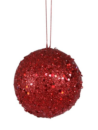 4 inch Red Jewel Christmas Ball Ornament w/ String For Christmas 2014