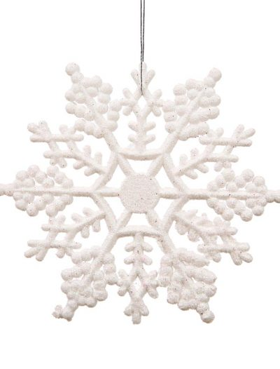 4 inch Artificial Glitter Snowflake Ornament (set of 24) For Christmas 2014