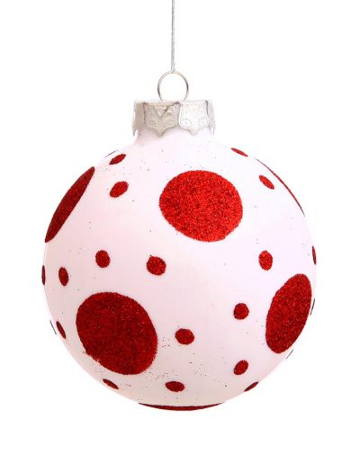 3 inch Bare Ball Christmas Polka Dot Ball Ornament (Set of 4) For Christmas 2014