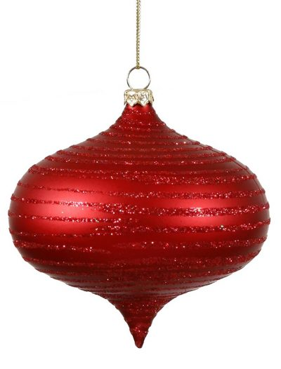 4 inch Plastic Matte Red Christmas Onion Drop Ornament For Christmas 2014