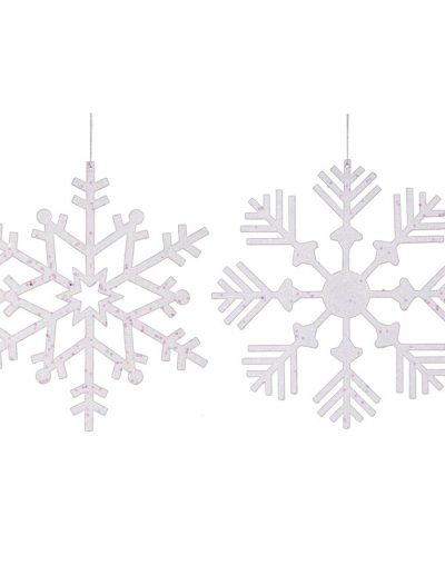 12 inch White Glitter & Plastic Christmas Snowflake For Christmas 2014