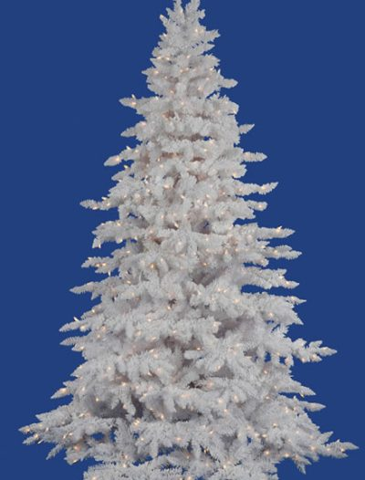 Vickerman Flocked White Spruce Clear Pre-lit Christmas Tree (Christmas Tree)