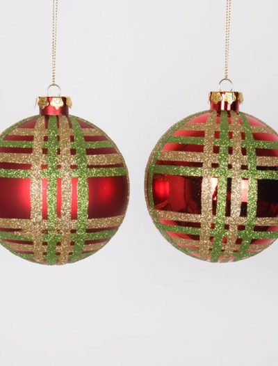 4 inch Glitter Christmas Shiny Ball Ornament (Set of 4) For Christmas 2014