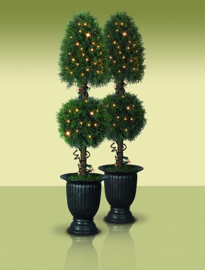 Set of 2 Balsam Hill Potted Arborvitae Royal Artificial Tree - Clear (Christmas Tree)