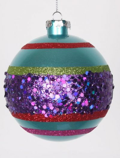 3.93 inch Candy Apple Teal Christmas Ball Ornament (Set of 4) For Christmas 2014