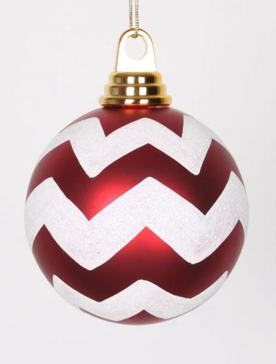 3.93 inch Red-White Matte-Glitter Chevron Christmas Ball Ornament For Christmas 2014