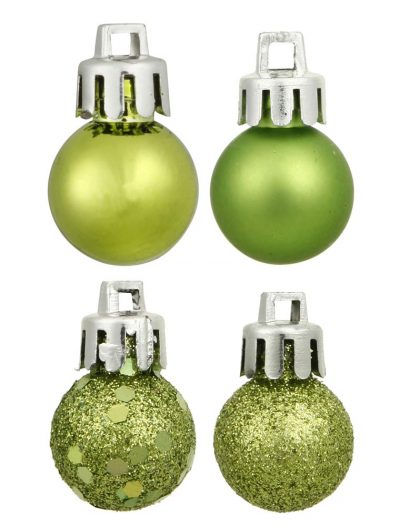 1 inch Shatterproof Lime 4-Finish Christmas Ball Ornament (Set of 18) For Christmas 2014