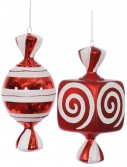 8 inch Red-White Fat Candy Christmas Ornament (Set of 2) For Christmas 2014