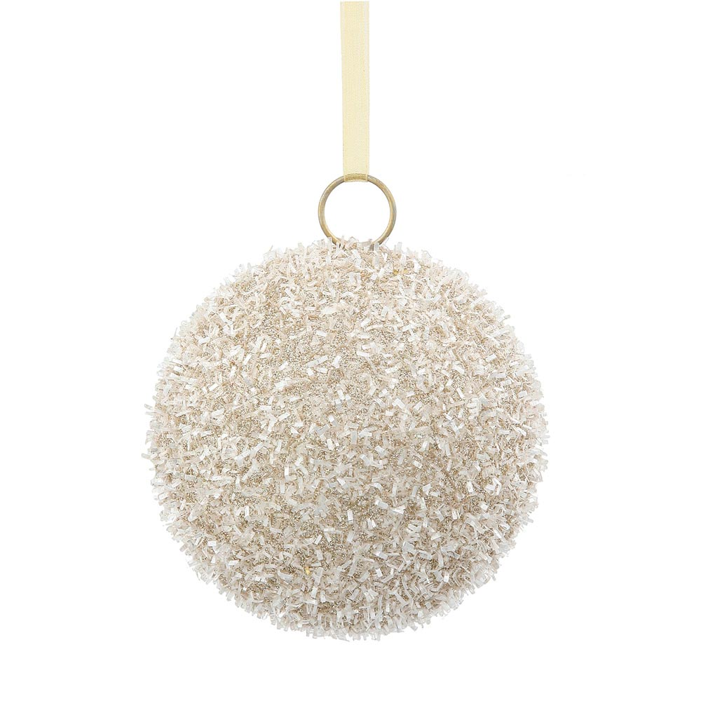 4 inch Champagne Glitter Christmas Ball Ornament (Set of 6 ...