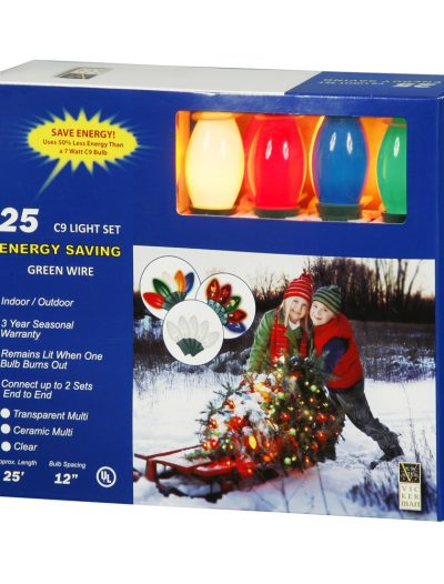 25 foot C9 Multicolor Ceramic End-Connector Set For Christmas 2014