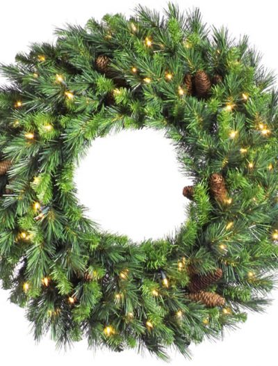Vickerman A801025 24 in. Cheyenne Pine Wreath Dura-Lit (Christmas Tree)