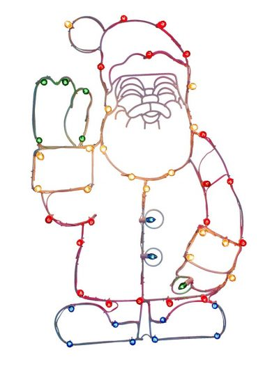 48 x 30 inch Waving Santa Wire Silhouette: C7 Lights For Christmas 2014