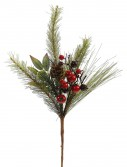 18 inch Mixed Red-Burgundy Berry and Pine Christmas Pick For Christmas 2014
