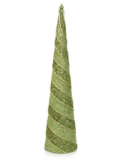 25 Inch by 6 Inch Beaded and Glittered Cone Christmas Tree: Set of (2) For Christmas 2014