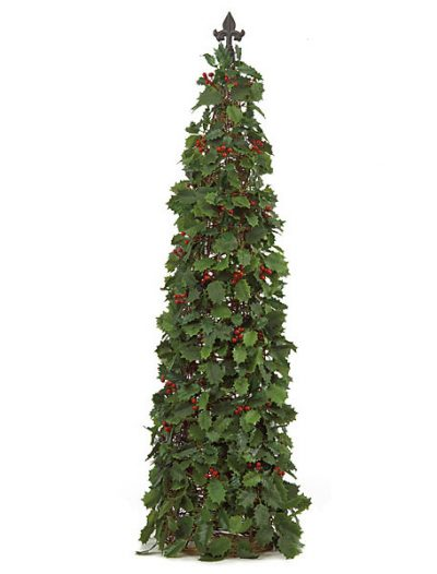 50 Inch Holly Cone Topiary with Red Berries: Set of (2) For Christmas 2014