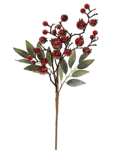 16 inch Red Icy Berry Cluster Christmas Pick For Christmas 2014