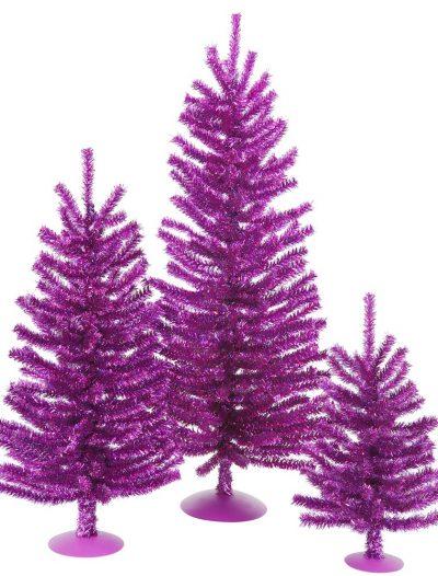 1/1.5/24 inch Purple Mini Christmas Trees Set For Christmas 2014