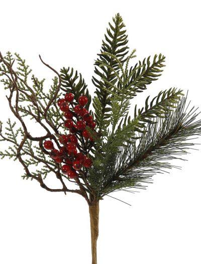 12 inch Cedar Cone Berry Pine Christmas Pick For Christmas 2014