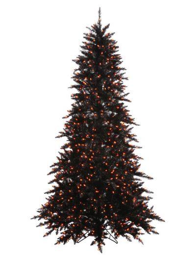 Artificial Black Fir Halloween Christmas Tree with Orange Lights For Christmas 2014