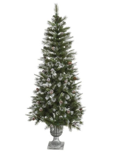 6.5 foot Flocked Tip Mixed Pine Christmas Tree For Christmas 2014