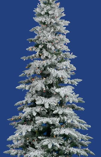 Flocked Utica Fir 78 Artificial Christmas Tree with Multicolored Lights (Christmas Tree)
