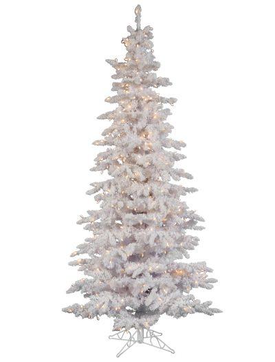 Flocked White Slim Spruce Christmas Tree For Christmas 2014