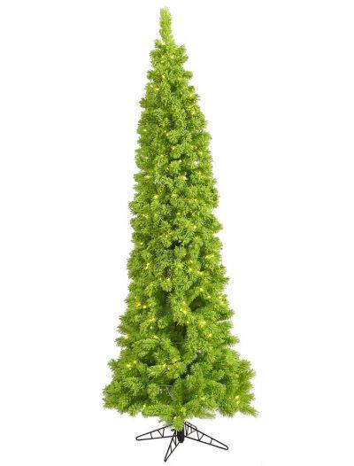 Flocked Lime Pencil Pine Christmas Tree For Christmas 2014