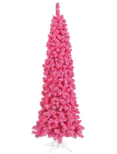 Flocked Pink Pencil Pine Christmas Tree For Christmas 2014