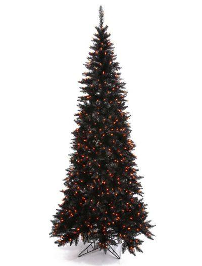 Artificial Black Slim Fir Halloween Christmas Tree with Orange Lights For Christmas 2014