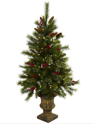 4 foot Artificial Christmas Tree w/ Berries & Pine Cones in Urn: LED Lights For Christmas 2014