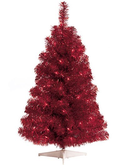 3 Foot Red Tinsel Christmas Tree: Red Lights For Christmas 2014