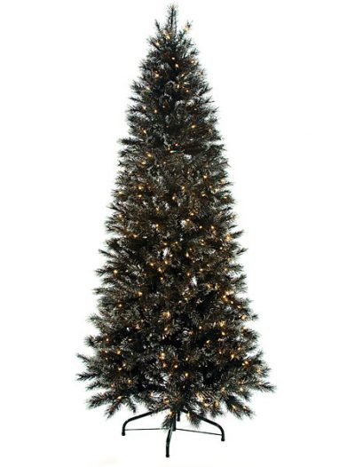 7.5 foot Black Glitter Pine Christmas Tree with Glitter: Clear Lights For Christmas 2014