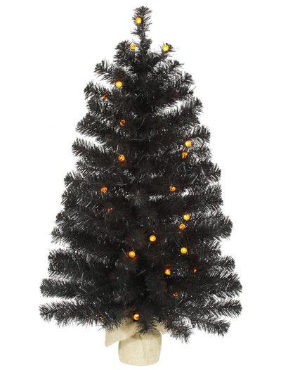 Artificial Black Halloween Christmas Tree with Orange Lights For Christmas 2014