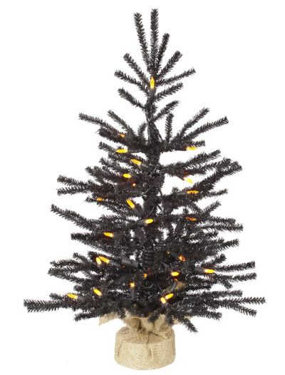 Artificial Black Pistol Halloween Christmas Tree with Orange Lights For Christmas 2014