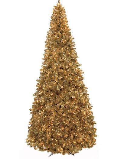 9 foot Gold Tinsel Christmas Tree: Clear Lights For Christmas 2014
