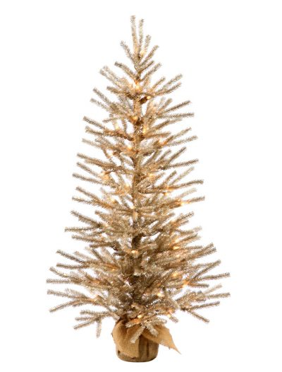24 inch Mocha Christmas Tree with Clear Lights and Burlap Base For Christmas 2014