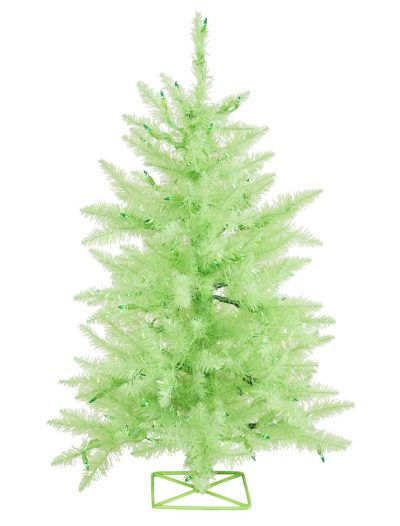 3 foot Chartreuse Christmas Tree with Green Lights For Christmas 2014