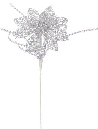 15 inch Artificial Glitter Christmas Poinsettia Stem For Christmas 2014