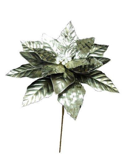 14 inch Platinum Poinsettia Stem Christmas Flower Pick For Christmas 2014