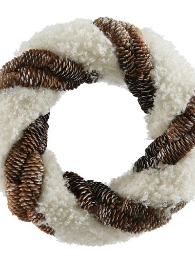 13 inch Snow and Pine Cone Christmas Wreath For Christmas 2014