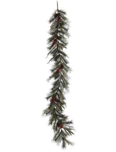 6 foot Cedar Cone Berry Pine Christmas Garland For Christmas 2014