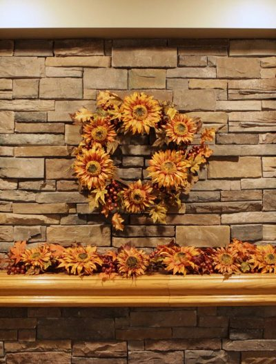 60 inch Gold Sunflower Berry Christmas Garland For Christmas 2014