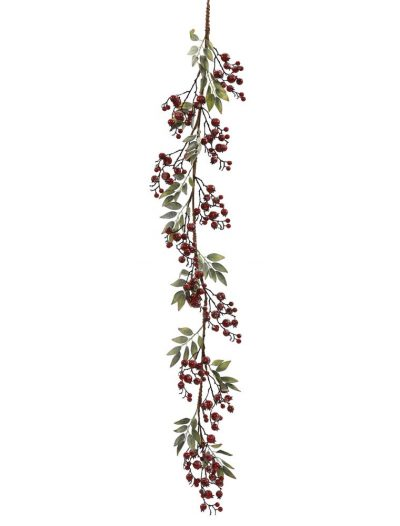 60 inch Red Icy Berry & Leaves Christmas Garland For Christmas 2014